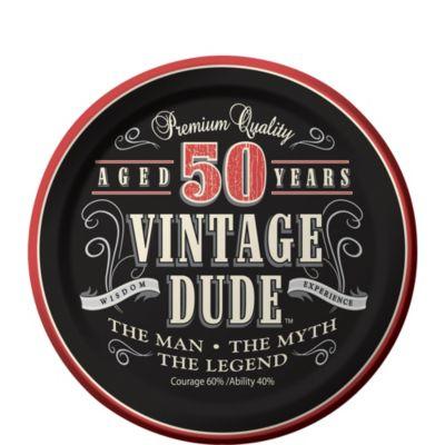 Vintage Dude 50th Birthday Dessert Plates 8ct Party City