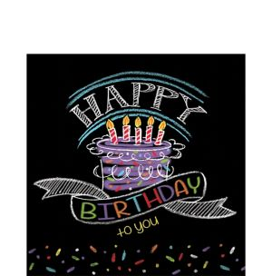 Chalkboard Birthday Lunch Napkins 16ct