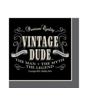 Vintage Dude Over the Hill Lunch Napkins 16ct