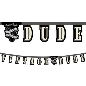 Vintage Dude Over the Hill Letter Banner