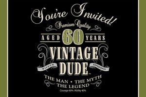 Vintage Dude 60th Birthday Invitations 8ct