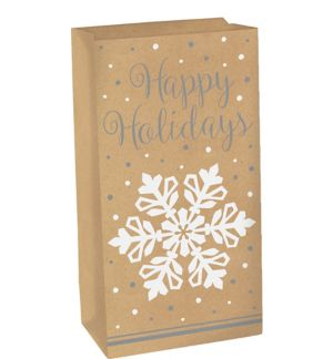 Happy Holidays Snowflake Kraft Treat Bag