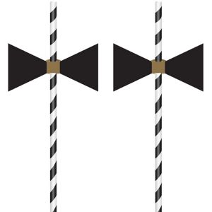 Bow Tie Paper Straws 12ct