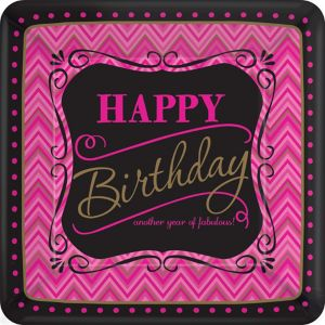 Pink Chevron Birthday Dinner Plates 8ct - Born to Be Fabulous