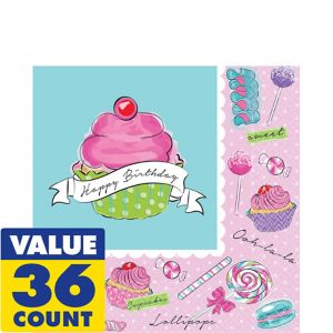 Pastel Birthday Sweets Lunch Napkins 36ct