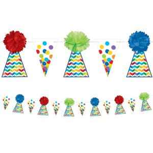 Rainbow Dot & Chevron Birthday Fluffy Garland Deluxe
