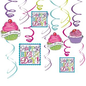 Birthday Sweets Swirl Decorations 12ct