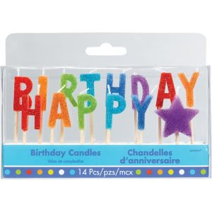 Glitter Multicolor Happy Birthday Toothpick Candle Set 14pc