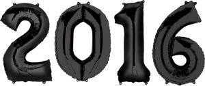 Black 2016 Number Balloons 4pc