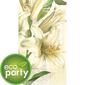 Eco-Friendly White Lilies Guest Towels 16ct