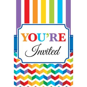 Bright Rainbow Chevron Birthday Invitations 20ct