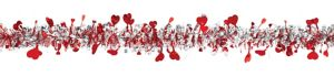 Red & Silver Heart Tinsel Garland