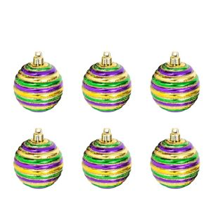 Glitter Stripe Mardi Gras Ornaments 6ct