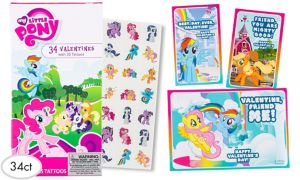 My Little Pony Valentine Exchange Cards with Tattoos 34ct