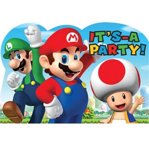 Super Mario Invitations 8ct