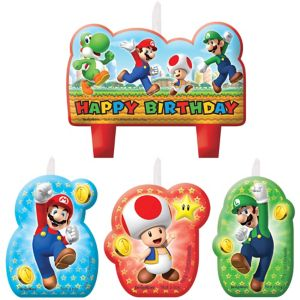 Super Mario Birthday Candles 4ct