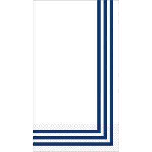 Royal Blue Classic Stripe Premium Guest Towels 16ct