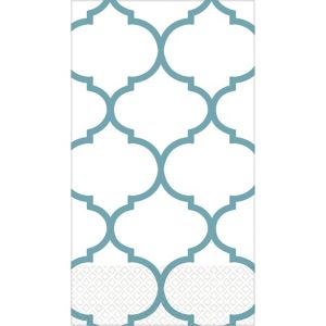 Teal Lattice Premium Guest Towels 16ct