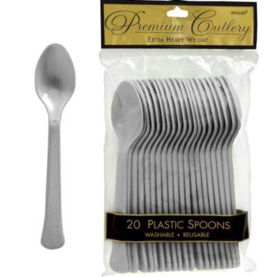 Silver Premium Plastic Spoons 20ct