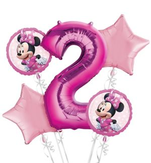 Minnie Mouse 2nd Birthday Balloon Bouquet 5pc