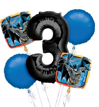 Batman 3rd Birthday Balloon Bouquet 5pc