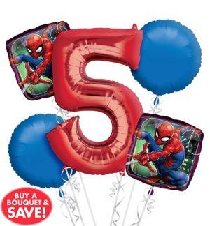 Spider-Man 5th Birthday Balloon Bouquet 5pc