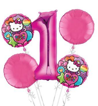Rainbow Hello Kitty 1st Birthday Balloon Bouquet 5pc