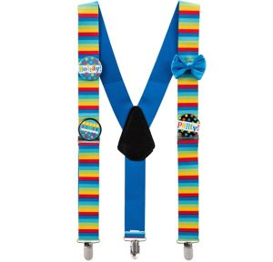Rainbow Stripe Birthday Suspenders