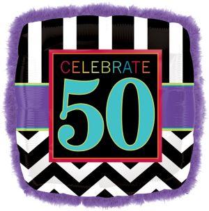 50th Birthday Balloon - Boa Square Chevron