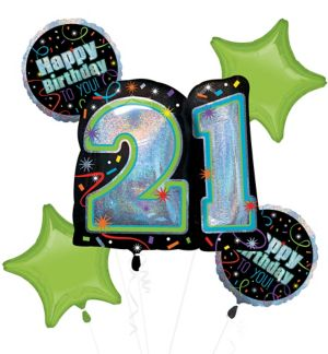 Brilliant 21st Birthday Balloon Bouquet 5pc