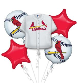 St. Louis Cardinals Balloon Bouquet 5pc - Jersey