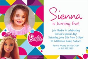 Custom Barbie Sparkle Photo Invitation