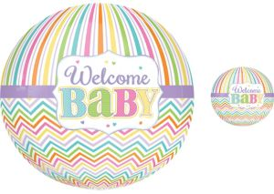 Pastel Rainbow Chevron Welcome Baby Balloon - Orbz