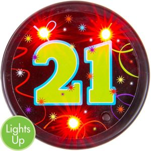 Light-Up Brilliant 21st Birthday Button