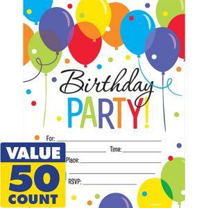 Rainbow Balloon Bash Birthday Invitations 50ct