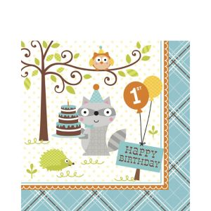 Boy 1st Birthday Lunch Napkins 16ct - Happi Woodland