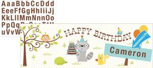 Boy Birthday Giant Personalized Banner - Happi Woodland