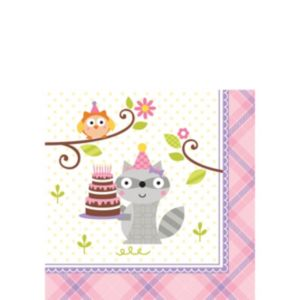 Girl Birthday Beverage Napkins 16ct - Happi Woodland
