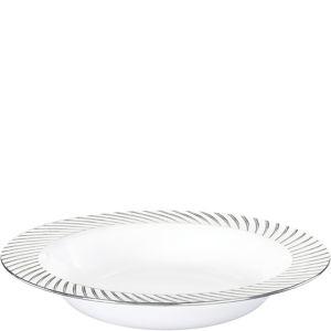White Silver Swirl Border Premium Plastic Bowls 10ct