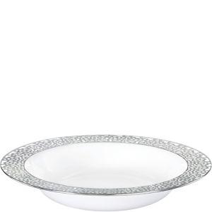 White Silver Lace Border Premium Plastic Bowls 10ct