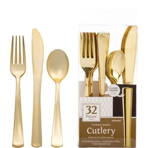 Gold Premium Plastic Cutlery Set 32ct