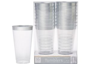 CLEAR Silver-Trimmed Premium Plastic Cups 16ct