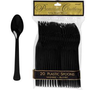 Black Premium Plastic Spoons 20ct