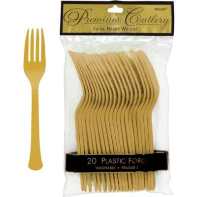 Gold Premium Plastic Forks 20ct