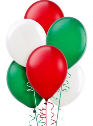 Green, White & Red Balloons 20ct