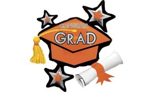Orange Star Graduation Cap Balloon
