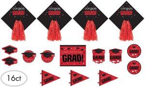 Red Graduation Cutouts 16ct - Congrats Grad