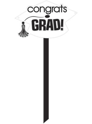 White Graduation Yard Sign - Congrats Grad