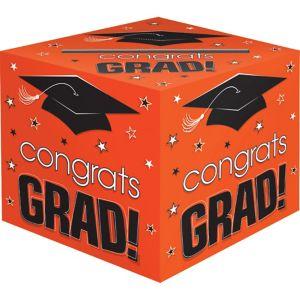 Orange Graduation Card Holder Box - Congrats Grad