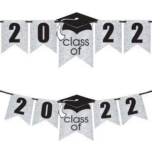 Glitter White Graduation Year Banner Kit - Congrats Grad